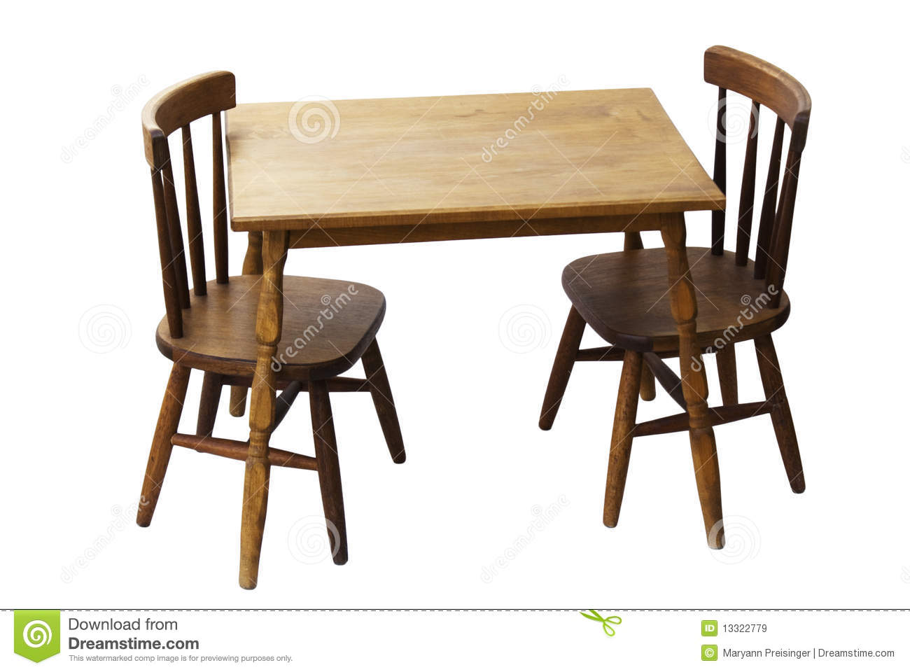 Children s child wood table and chairs isolated royalty free stock