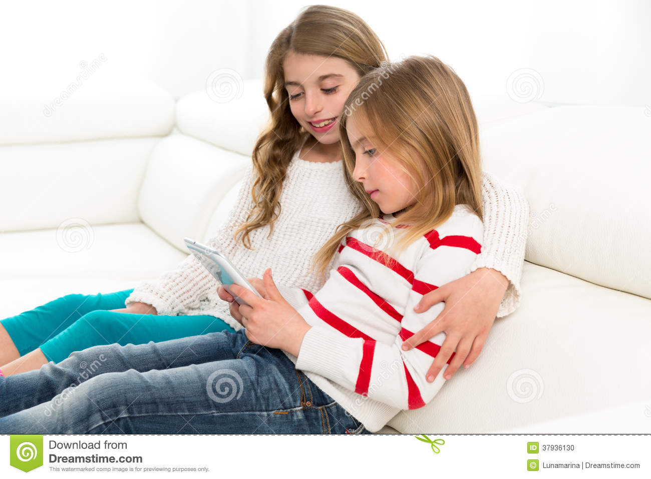 Sofa Credit Children Sister Friends Kid Girls Playing Together With