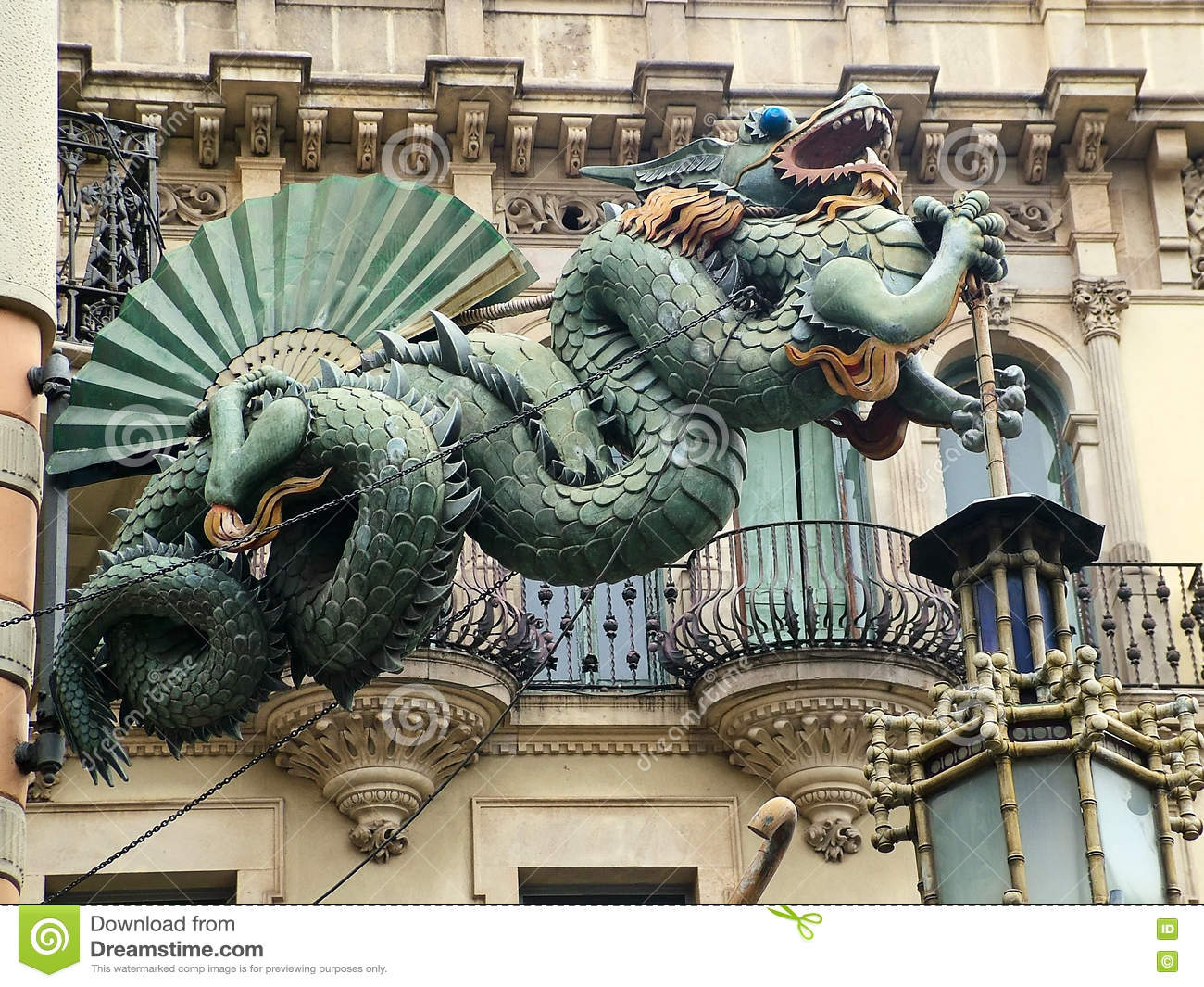 Casa Bruno Chinese Dragon On The Facade Of The Casa Bruno Quadros In