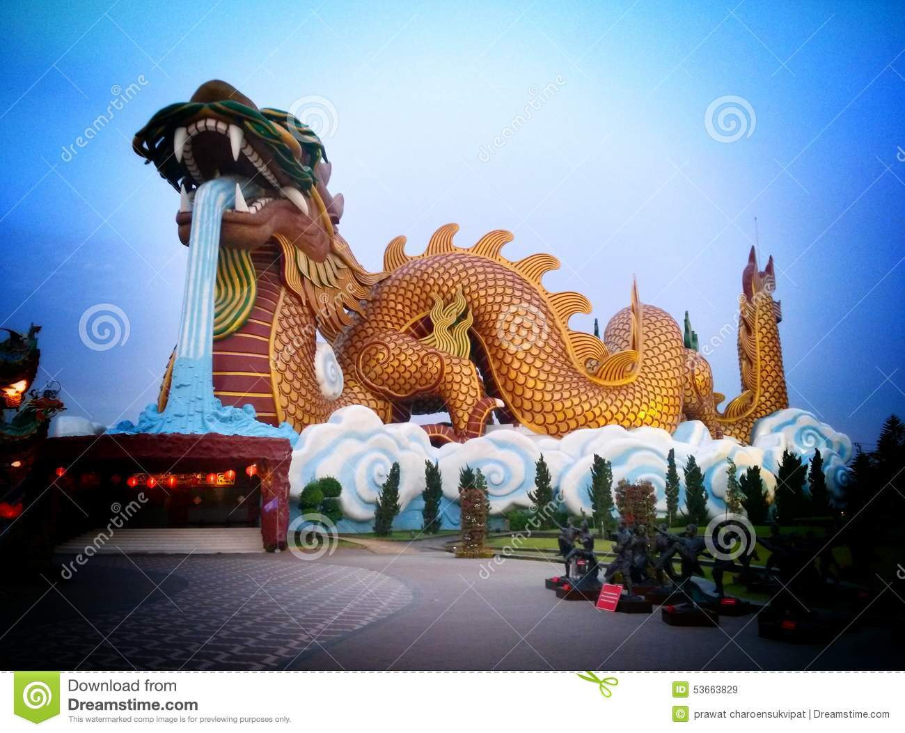 Giant Dragon Statue Chinese Dragon Sculpture Stock Image Image Of Heaven 53663829