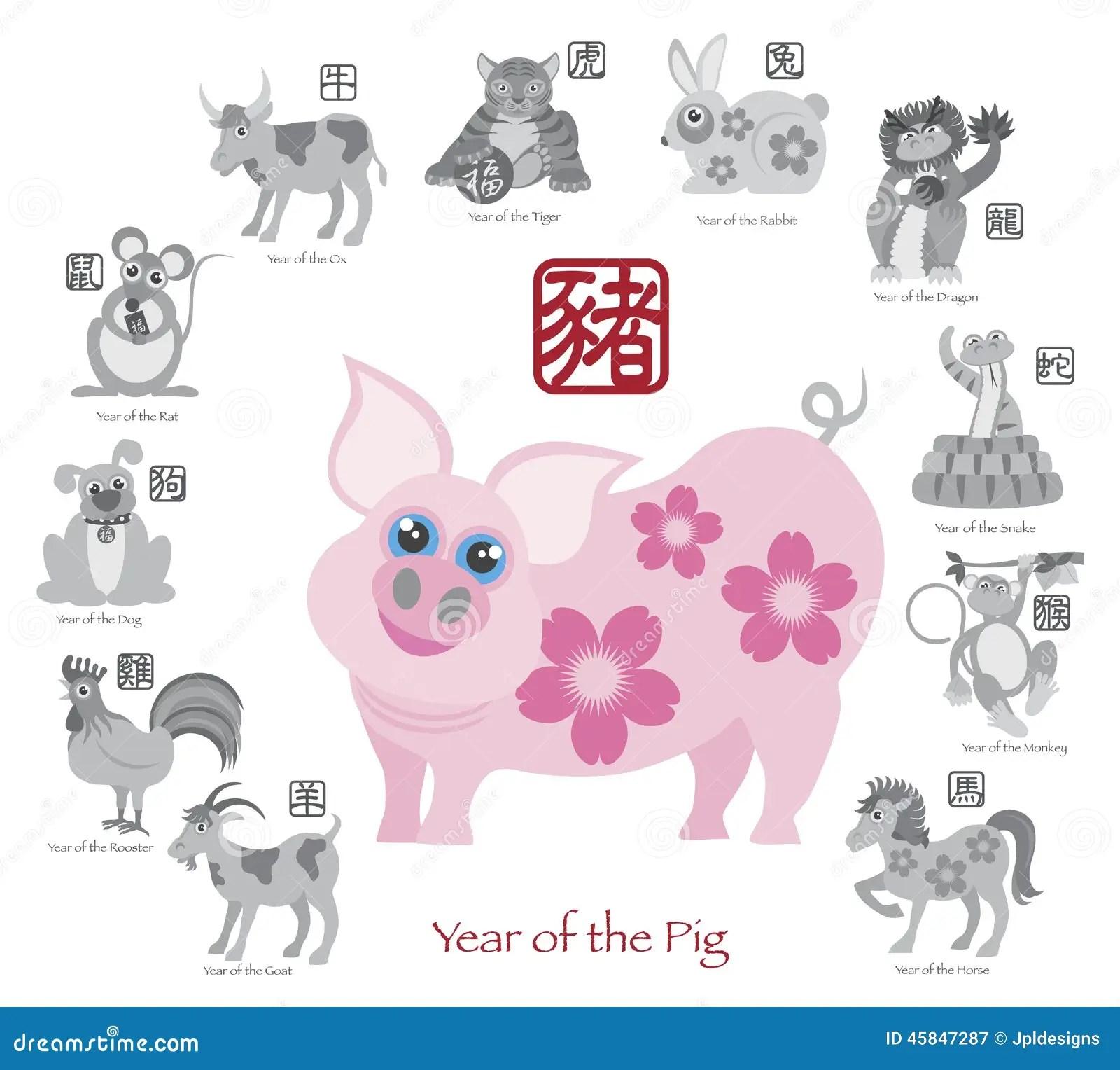 Chinese New Year Calendar Rabbit Chinese Zodiac Rabbit Personality Traits Year Of The Rabbit Chinese New Year Pig Color With Twelve Zodiacs Vector