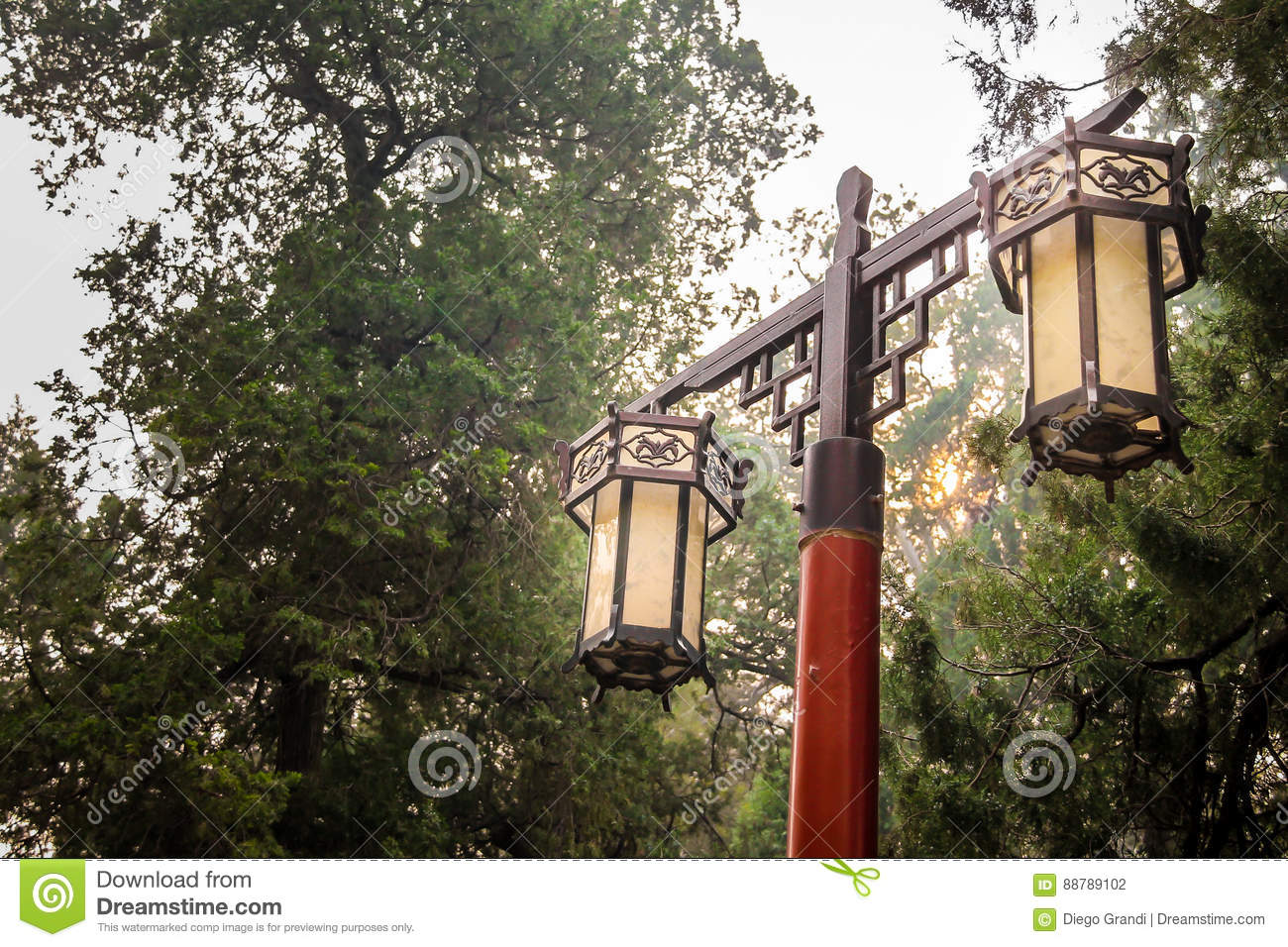 Tuin Lamp Chinese Tuinlamp In Traditionele Stijl Stock Foto Afbeelding