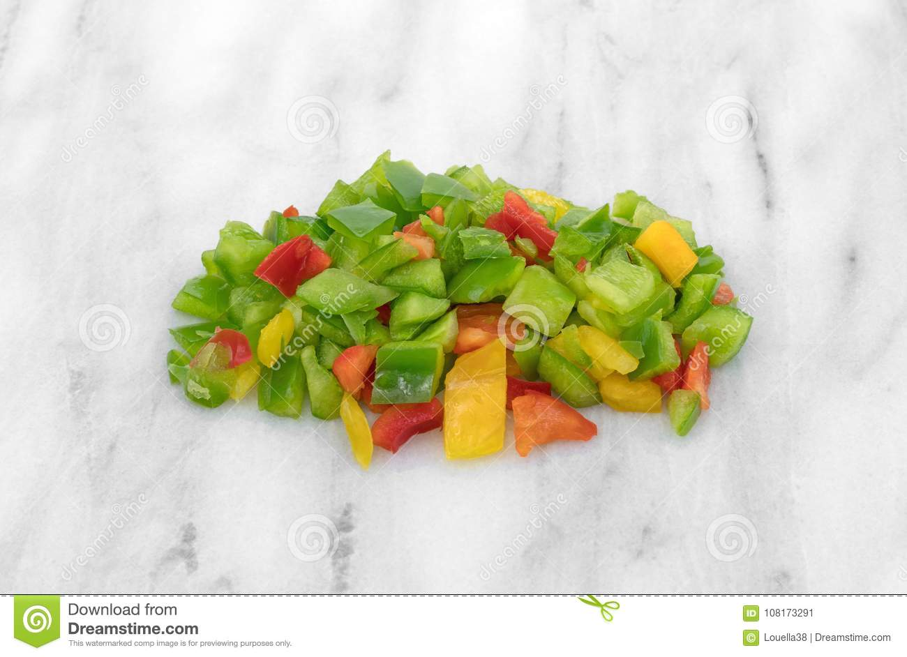 Small Marble Cutting Board Chopped Bell Peppers On A Marble Cutting Board Stock Image Image