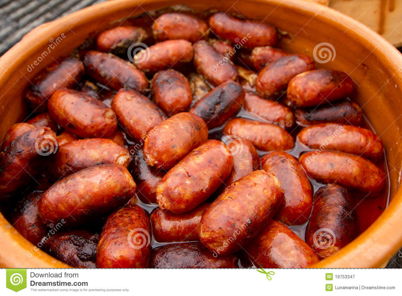 Kleine Bbq Chorizo Red Sausage Spanish Unhealthy Food Stock Image