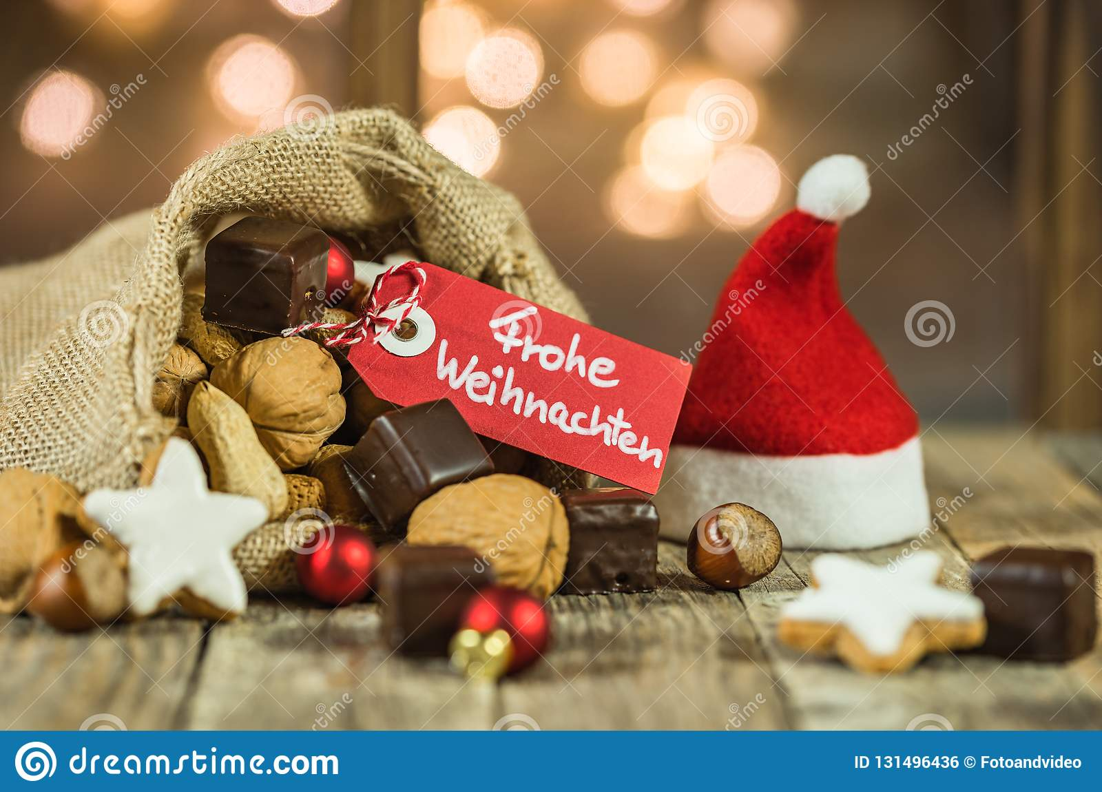 Advent Weihnachten Christmas Or Advent Food And Sweets In Santa Claus Sack Stock