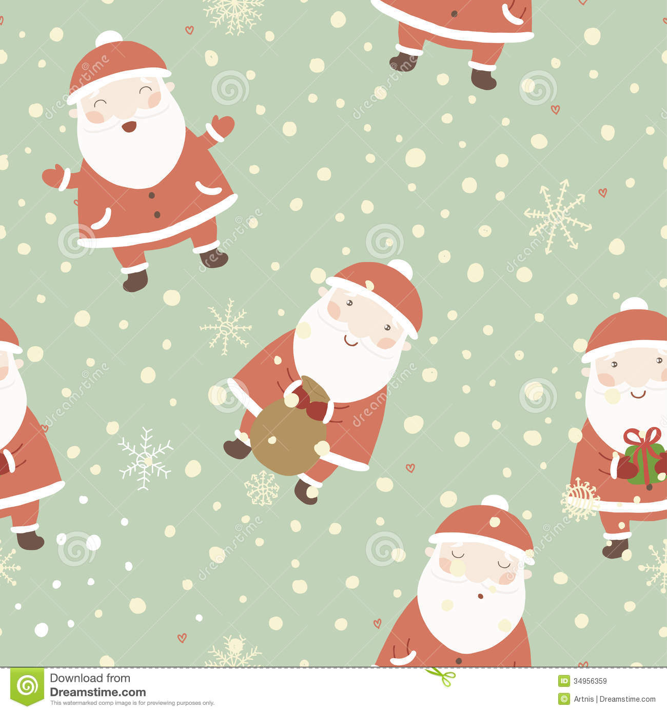 Wallpapers Fofo Cutes Christmas Background With Cute Santa Stock Vector