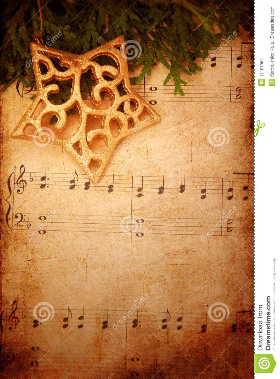 Wallpaper Natal Hd Christmas Background With Old Sheet Music Stock Photo