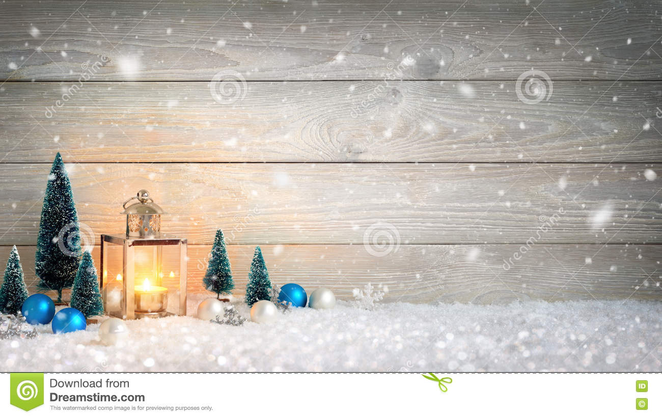 Snow Falling Wallpaper Download Christmas Background With Wood Snow And Lantern Stock
