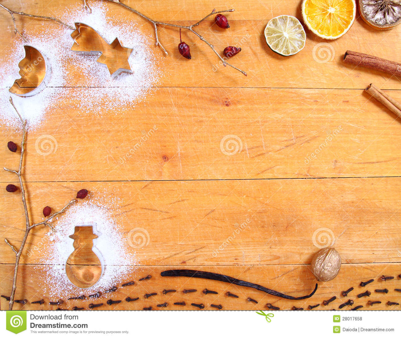 Cute Vintage Wallpaper Christmas Baking Background Frame Stock Photo Image