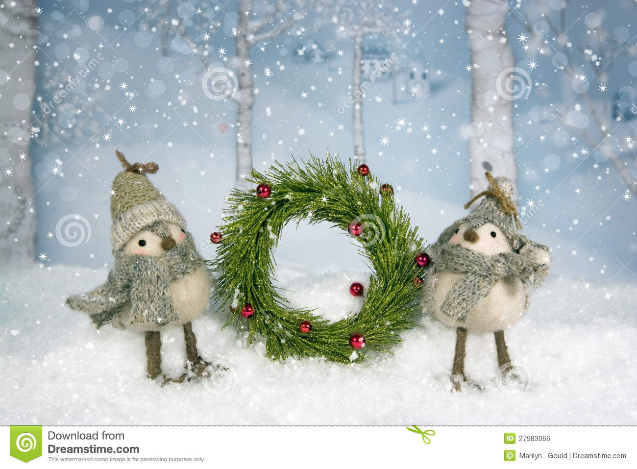 Happy New Year 3d Wallpaper Download Christmas Birds Wreath Royalty Free Stock Image Image