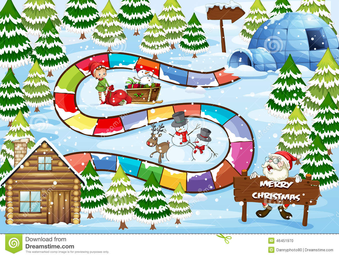 Christmas Board Game Stock Vector Illustration Of Cold