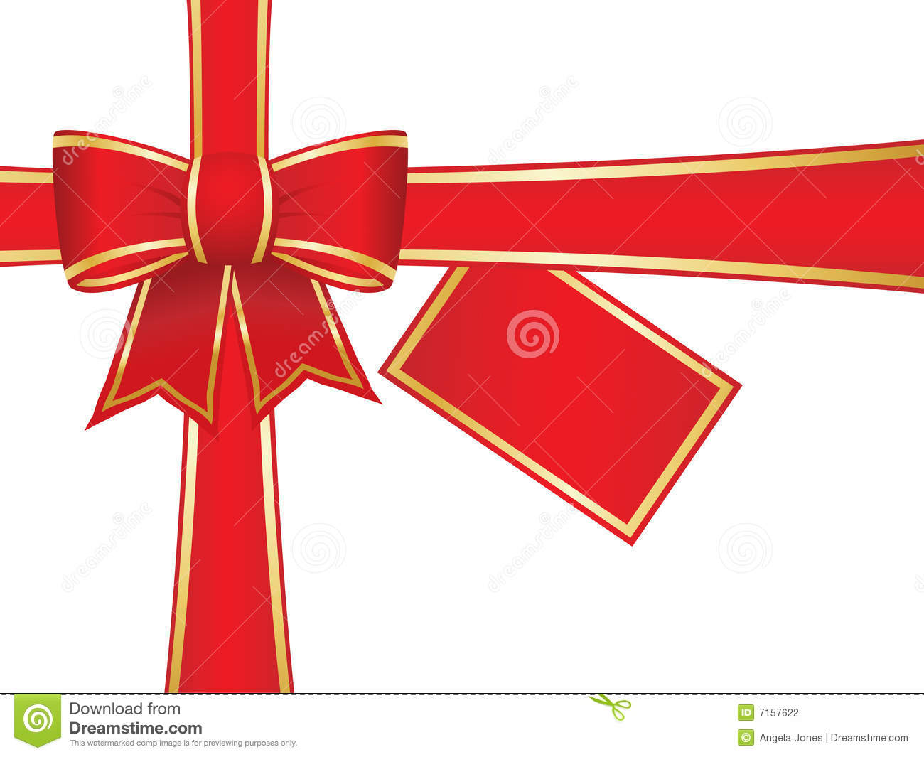 Carte Cadeau Wish Christmas Bow And Ribbons With Blank Gift Card Stock