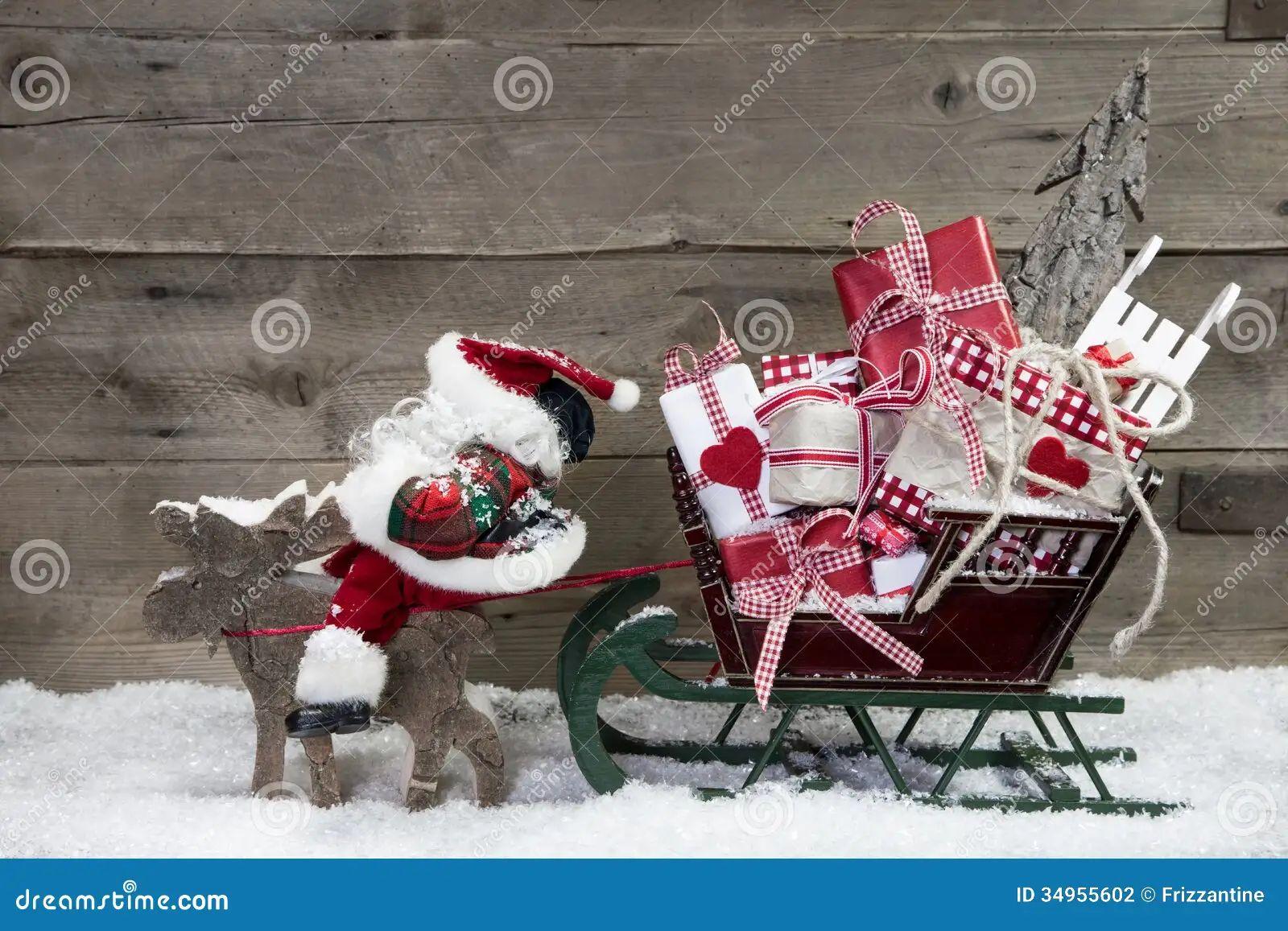 Christmas card decoration elks pulling santa sleigh of