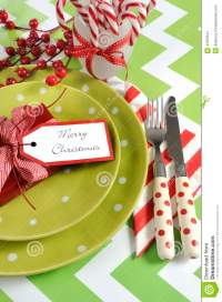 Christmas Children Family Party Table Place Settings In ...