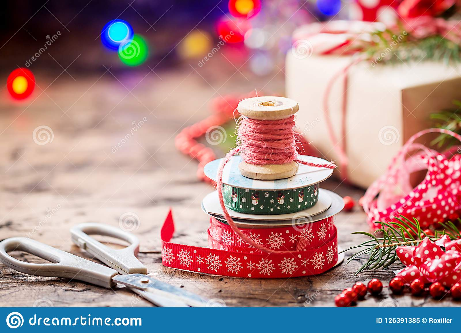 Christmas Homemade Gifts Christmas Decoration For Gifts Stock Image Image Of Bobbin