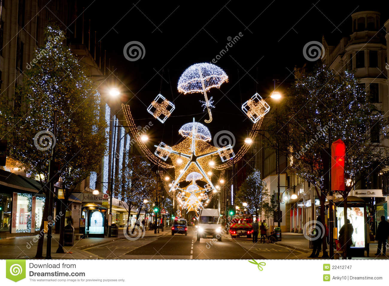 Decoration Noel Londres Christmas Decorations, Oxford Street Editorial Photography