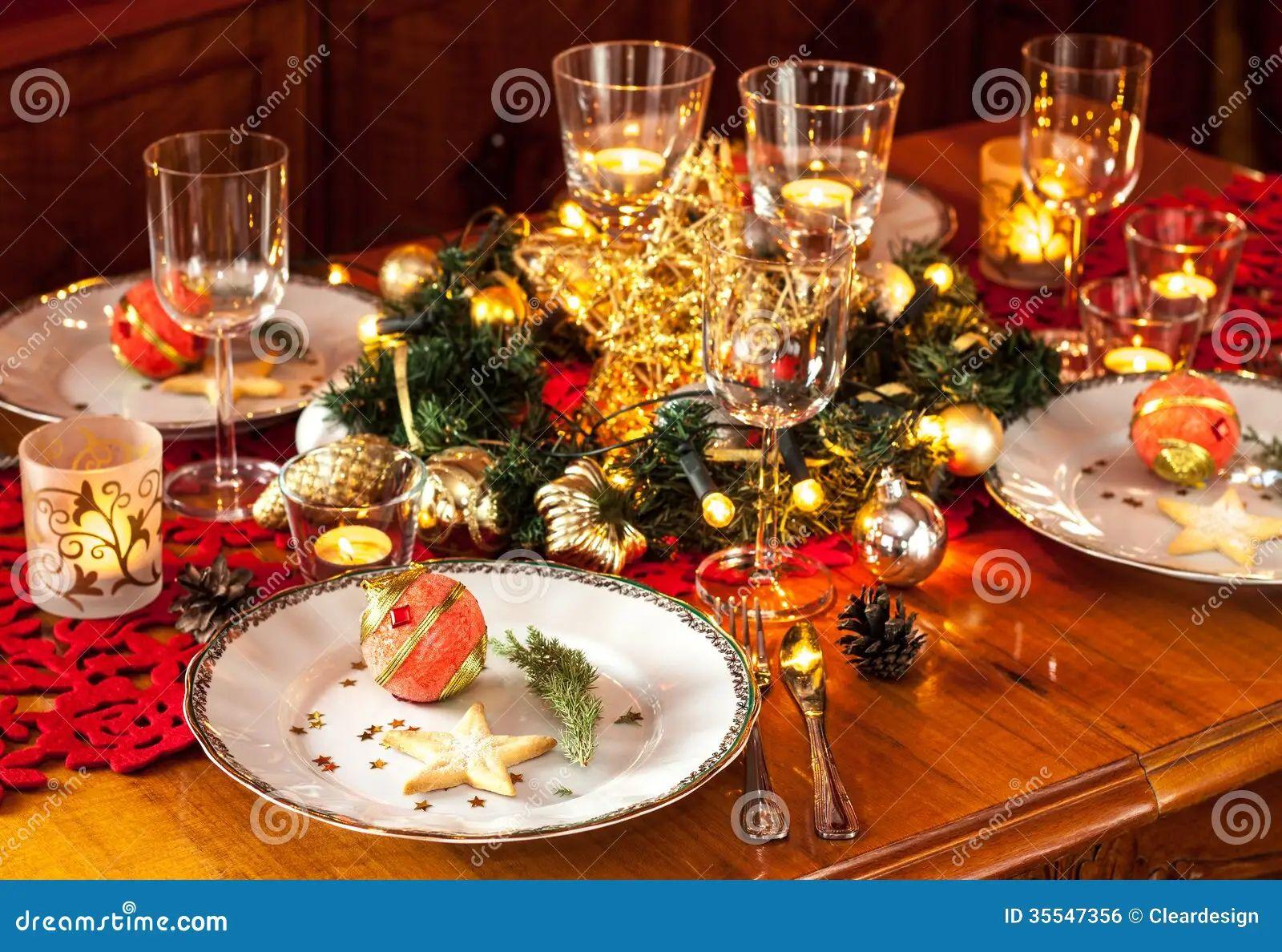 Christmas dinner elegant eve gold lights party setting table
