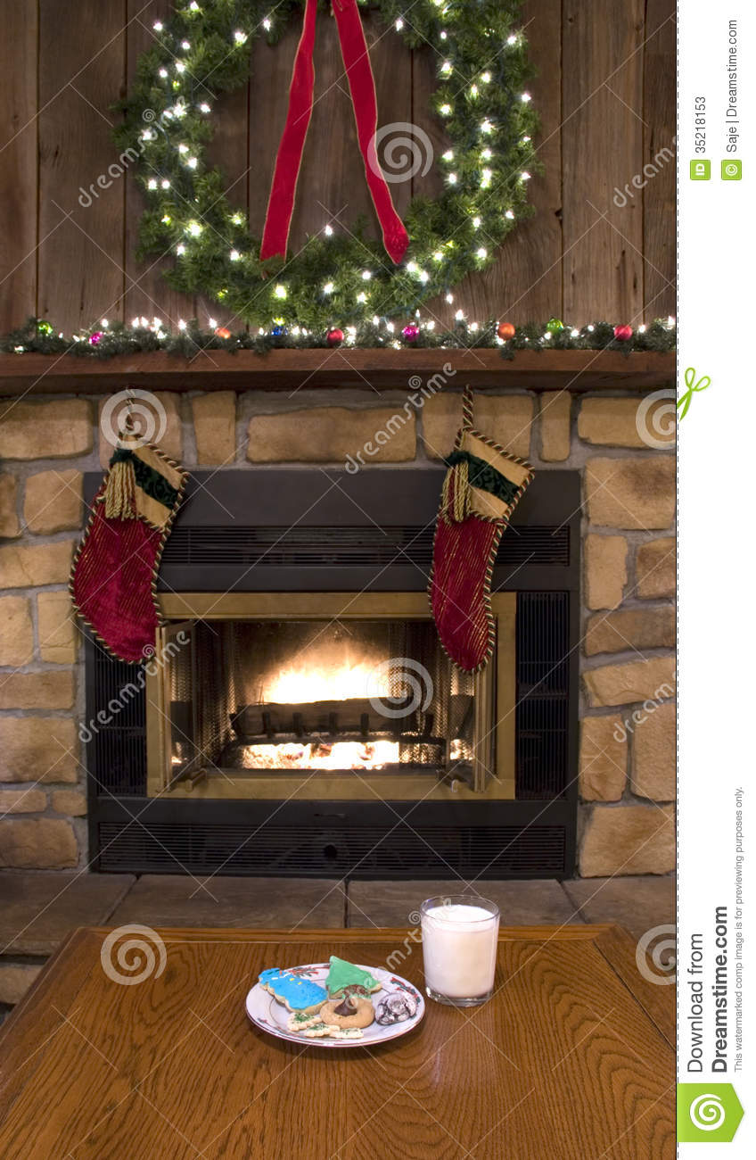 Milk Decoration Christmas Fireplace Hearth With Cookies And Milk For Santa