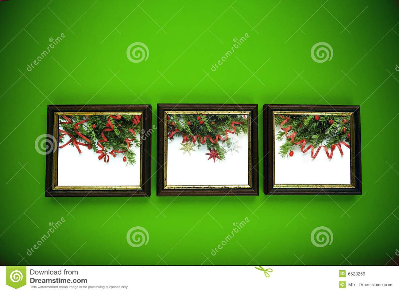 Black And Silver Floral Wallpaper Christmas Frames On Green Wall Royalty Free Stock Images