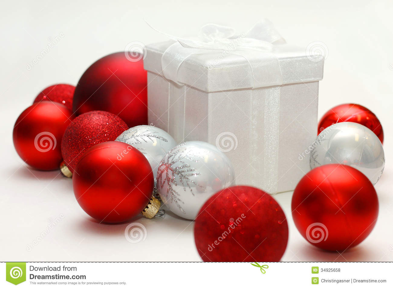 Silver and red christmas decorations -  Christmas Gift Isolated Ornaments Present Silver Download