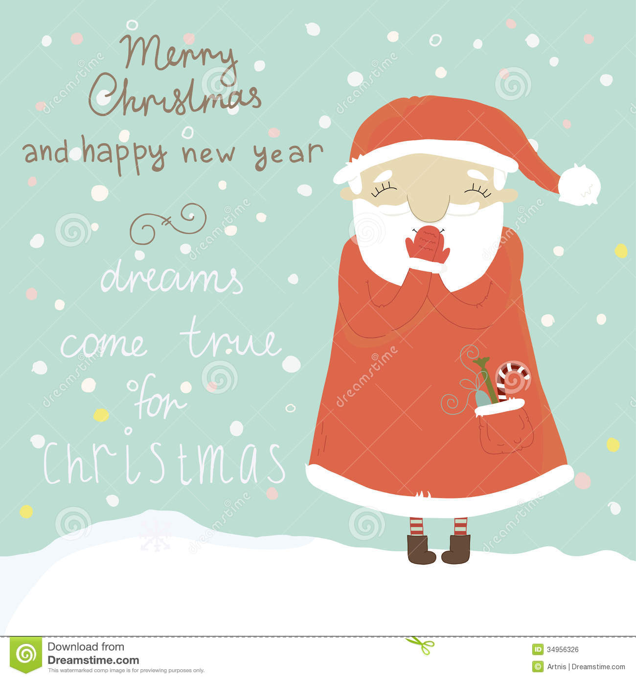 Carte Cadeau Wish Christmas Greeting Card With Santa Claus Royalty Free