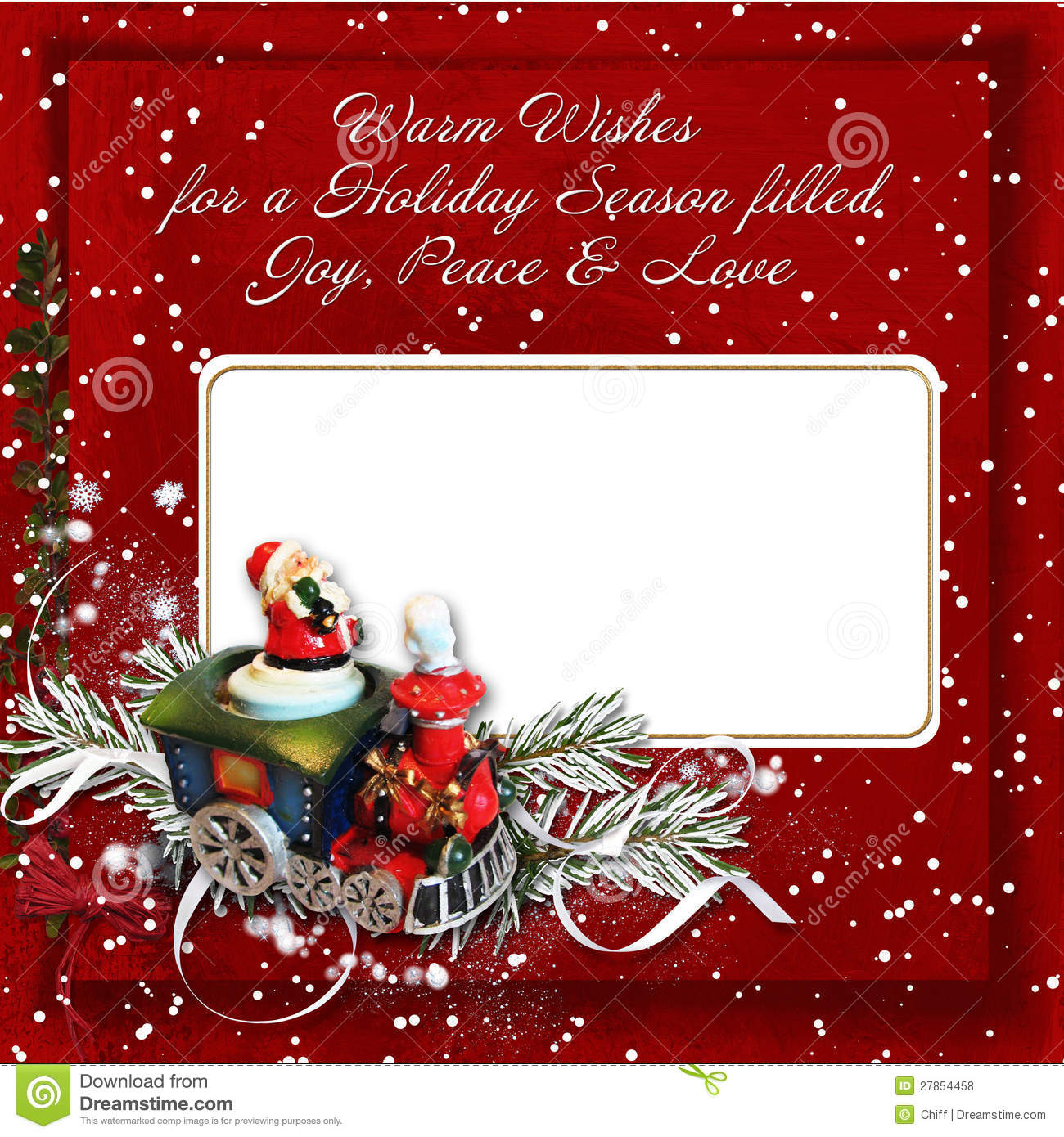 Carte Cadeau Wish Christmas Greeting Card With Warm Wishes Stock