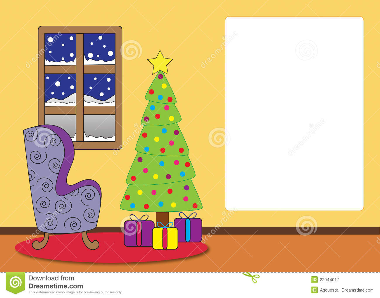 Wohnzimmer Cartoon Christmas Living Room Cartoon Stock Illustration Image