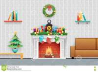 Christmas New Year House Interior Living Room Furniture ...