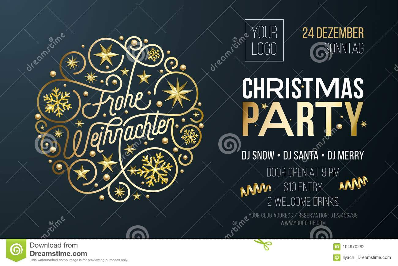 Design Weihnachten Christmas Party Invitation For German Frohe Weihnachten Holiday