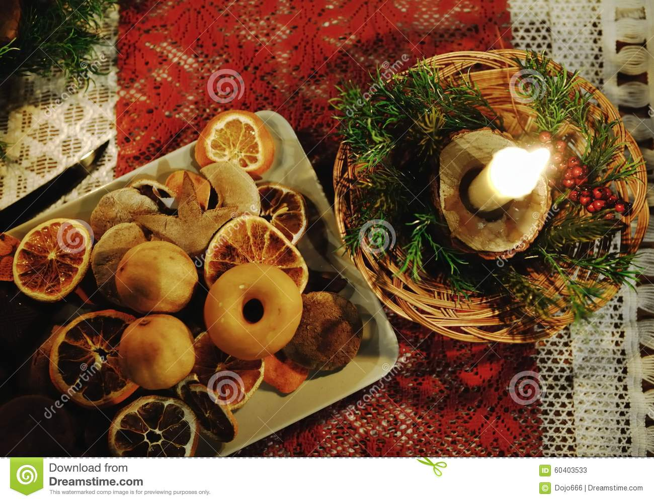 Christmas Tables Decorated Christmas Table Decorated With Typical Objects Stock Image