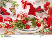 Christmas Table Setting In Red And Green Colors Stock ...