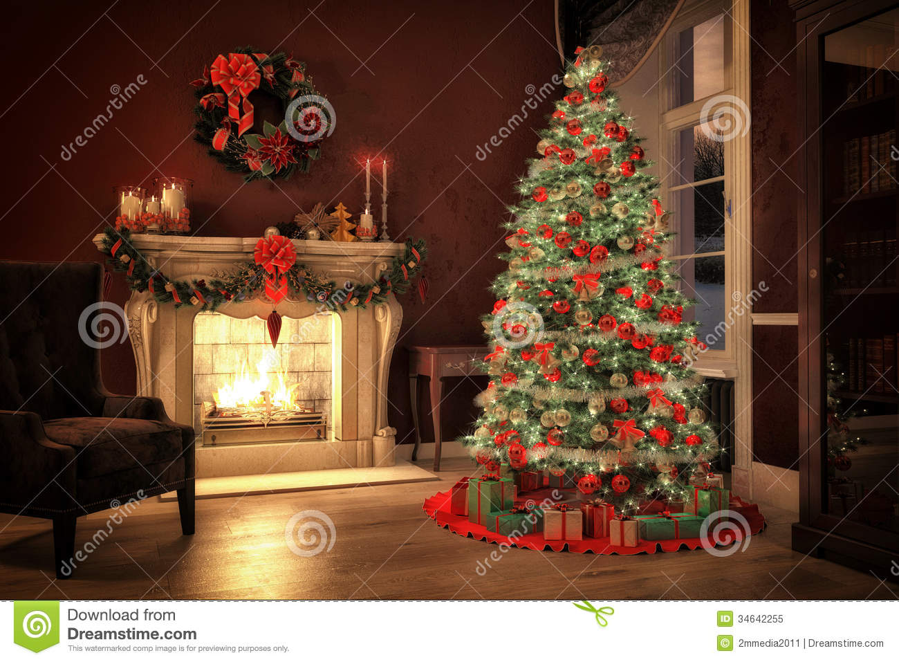 Weihnachten Dekoration Real Christmas Time Stock Illustration Image Of Winter Tree