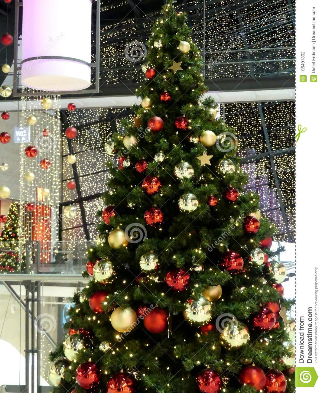 Rostock Shopping Christmas Tree And Christmas Decoration In German Shopping Center
