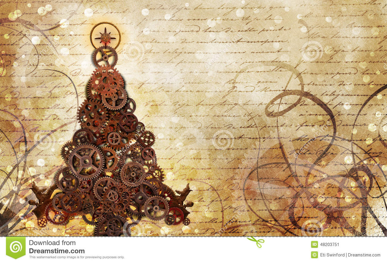 Animated Christmas Tree Wallpaper Christmas Tree Steampunk Stock Illustration Image Of Punk