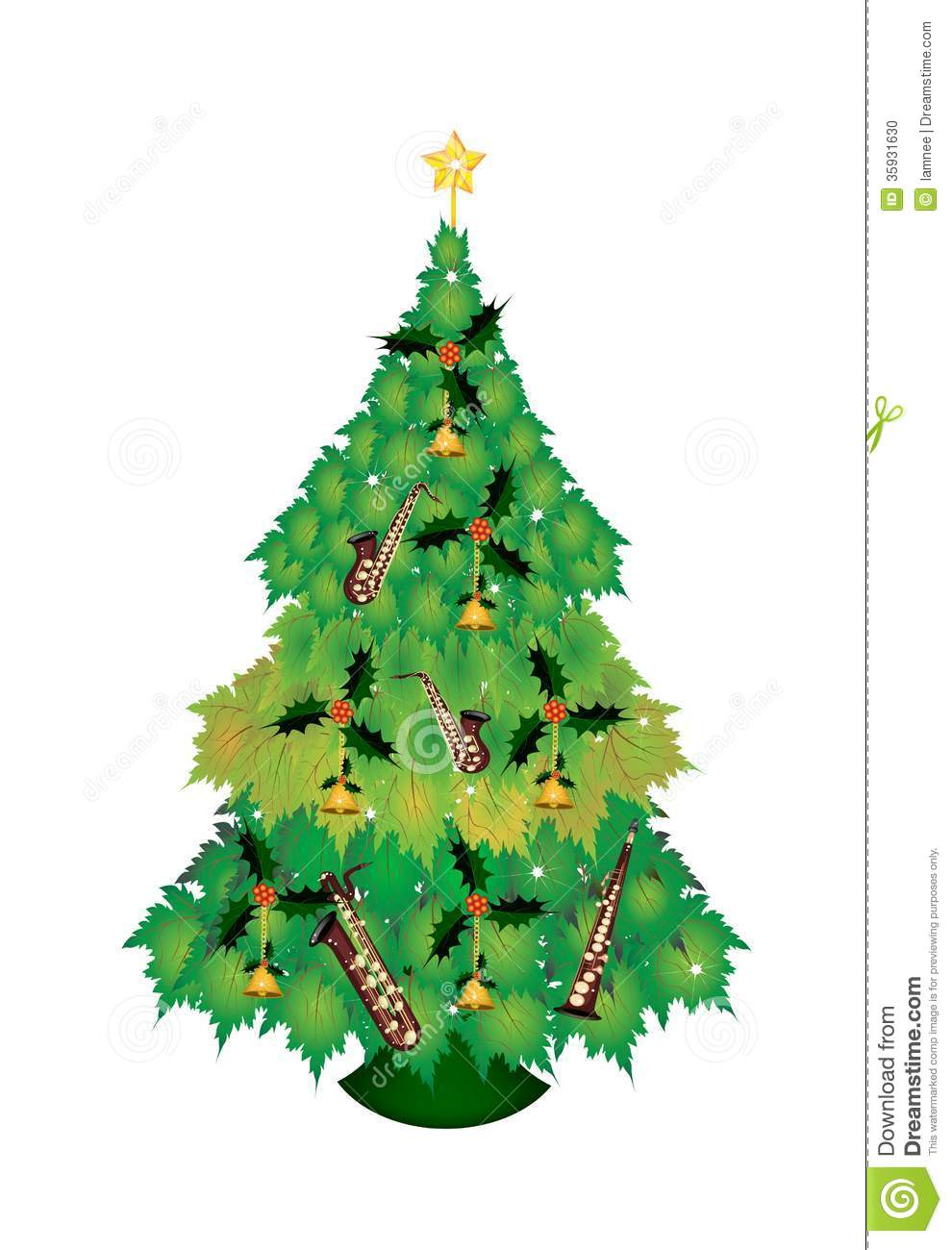 Baum Sternzeichen Christmas Tree Of Green Maple Leaves With Ornament Stock