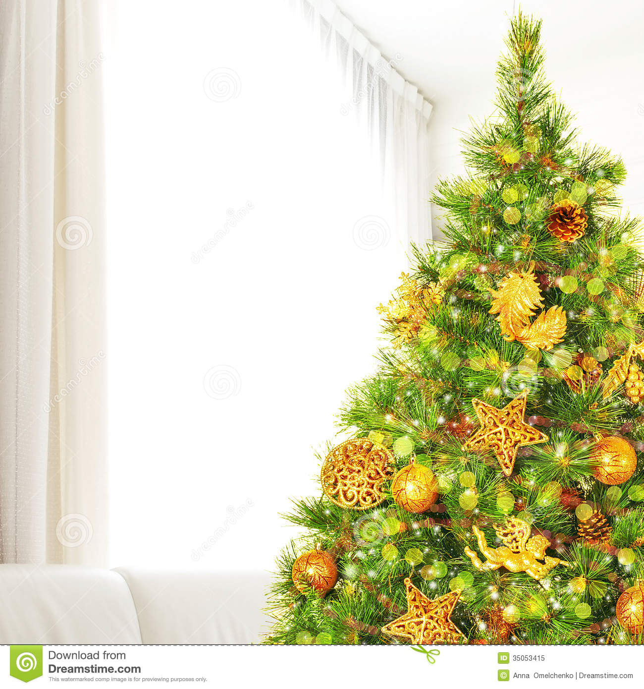 Beautiful Decorated Homes Christmas Tree At Home Stock Image Image Of Bubble