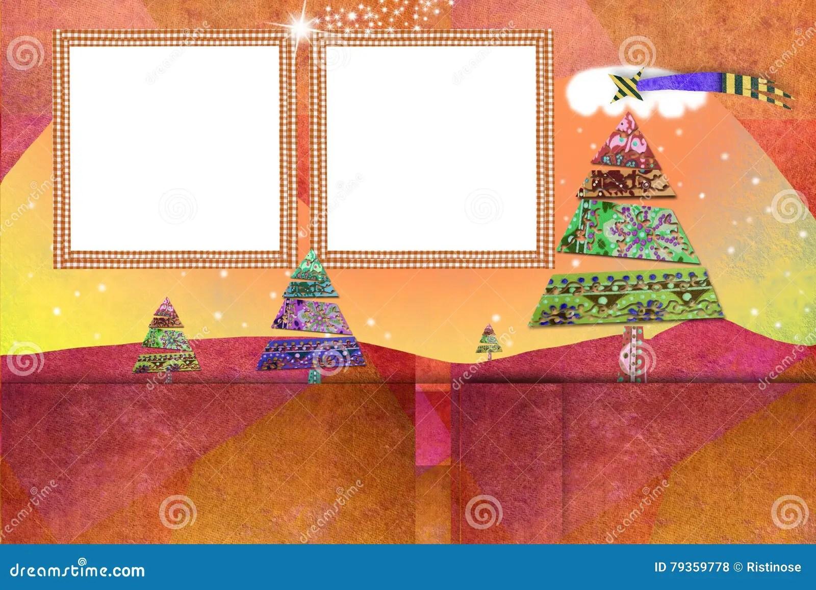 Christmas Two Photo Frames Cards Stock Illustration - Illustration