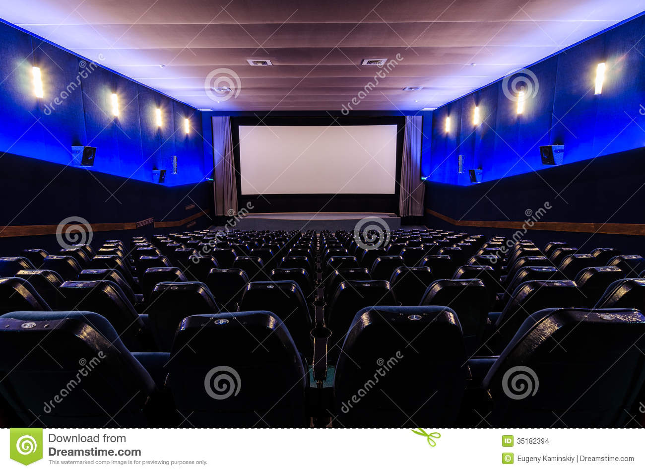 Spotlight Lamp In Cinema Theater Stock Images - Image: 35182394
