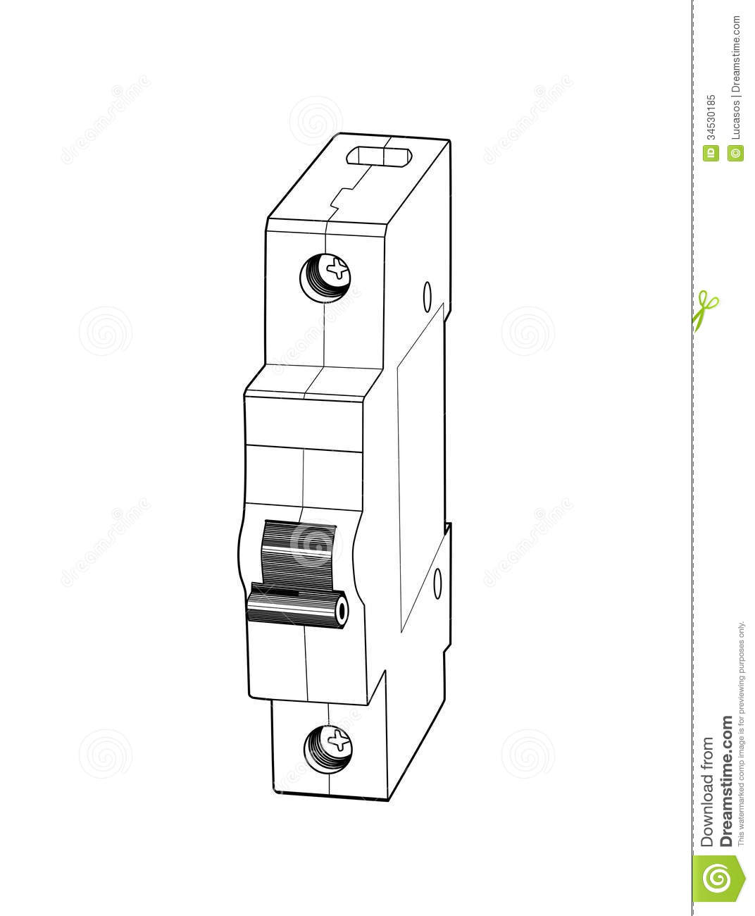 circuit breaker isolated on white background vector illustration