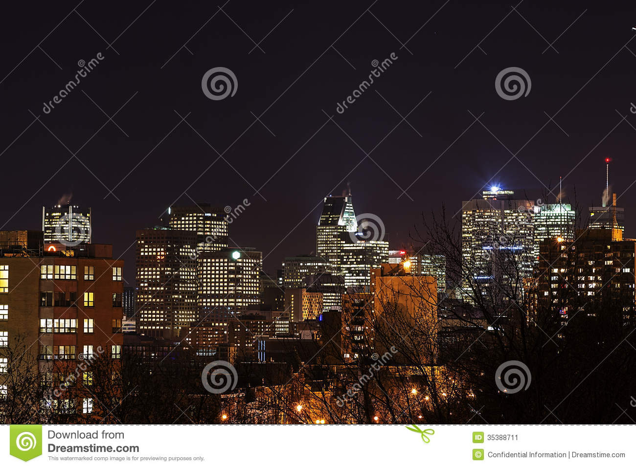 Lights Montreal City Lights Montreal Downtown Stock Image Image 35388711