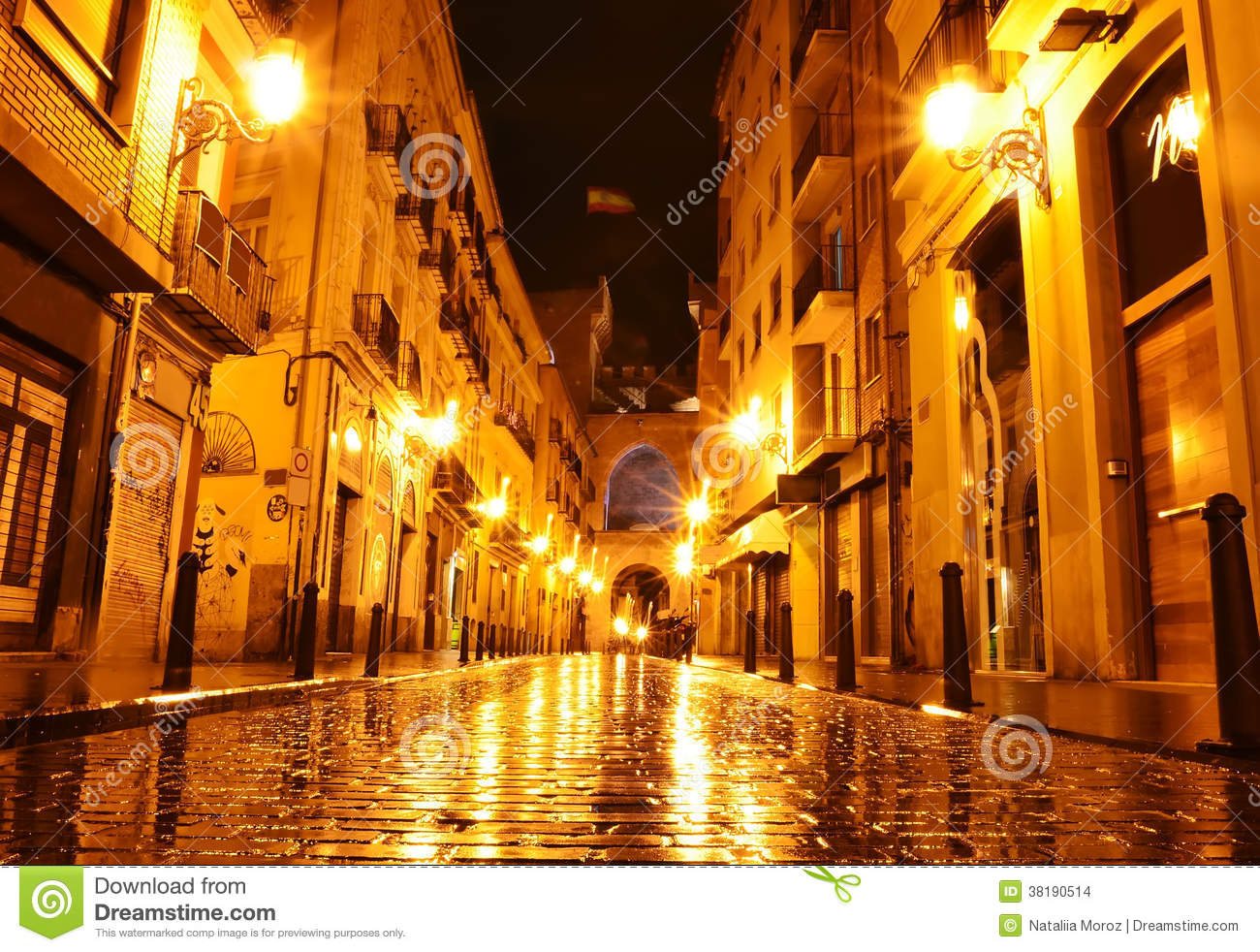 Free Wallpaper Old Cars City Street In Night Valencia Spain Stock Photo Image