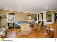 Classic American Living Room Interior. Beige And Green ...