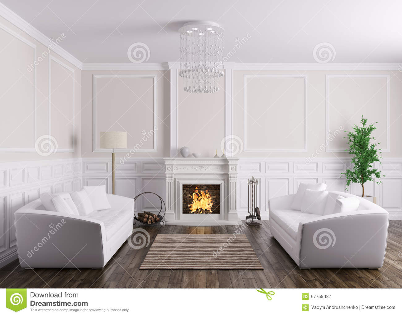 American Classic Living Room Design Classic Interior Of Living Room With Sofas And Fireplace