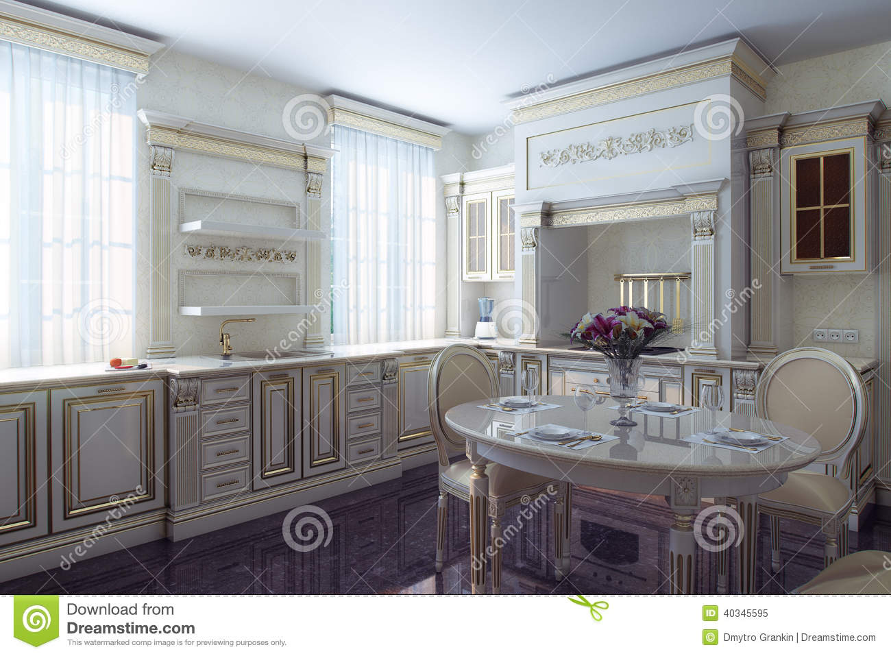 Antique Looking Kitchen Cabinets Classic Kitchen Cabinet In Provence Vintage Style Stock