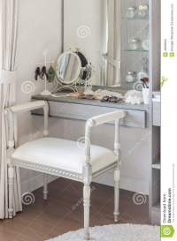 Classic White Chair With Dressing Table Stock Photo ...