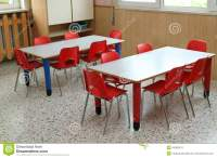 Classroom With Table And Small Chairs In Kindergarten ...