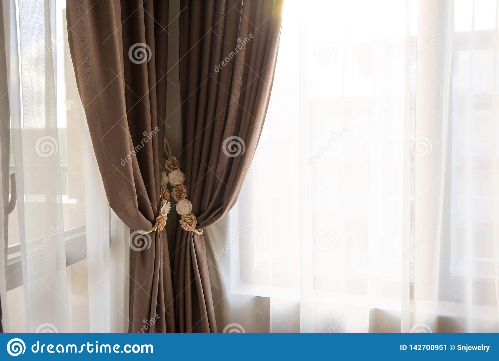 Curtains For Long Windows Classy Bedroom Interior Design Large Bed Room With Brown Color