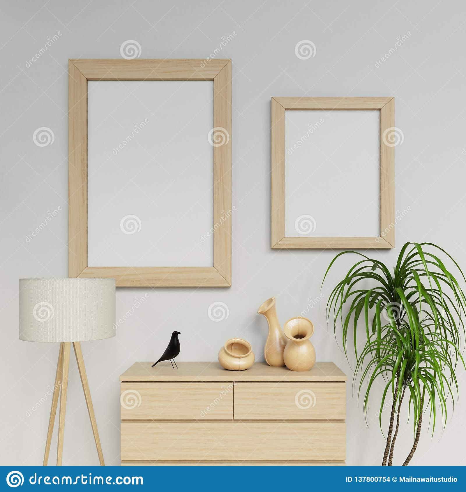 A2 White Frame Clean Interior Space 3d Rendering Of Two A1 And A2 Poster Mockup