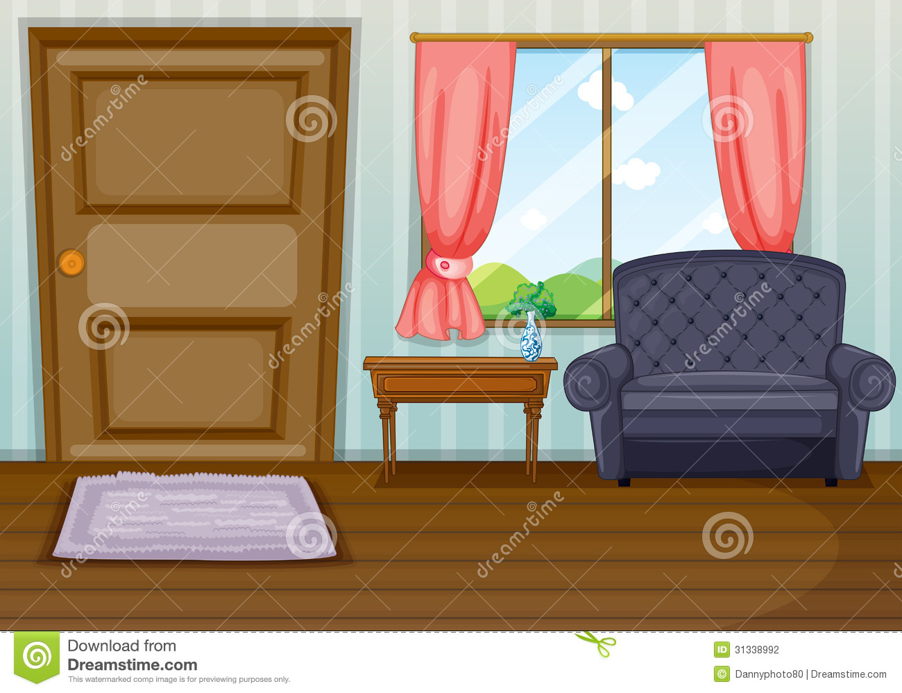 Wohnzimmer Cartoon A Clean Living Room Stock Vector Illustration Of Door