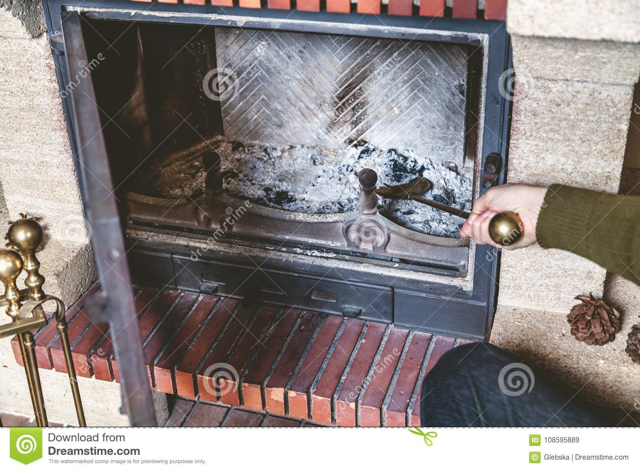 Cleaning A Fireplace Cleaning Fireplace Hand Holding Shovel With Ash Stock Image